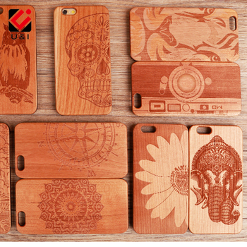 U&I Original Engraving Cherry Wood phone Case for iPhone 5 5S SE 6 6S 7 6PLUS 7PLUS AZTEC Wooden Cover Fundas Flower Elephant iPhone 8