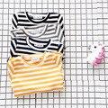 Outono Inverno 2016 Da Menina Bonito Do Bebê t-shirts de Algodão Da Listra Crianças assentamento T-shirt de Manga Longa Crianças Bebê Infantil de Roupas meninos