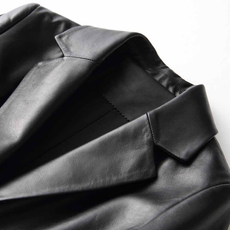 AYUNSUE/пальто из натуральной овчины для женщин; тонкая куртка из натуральной кожи; длинный плащ; женская верхняя одежда; сезон весна-осень; 27266