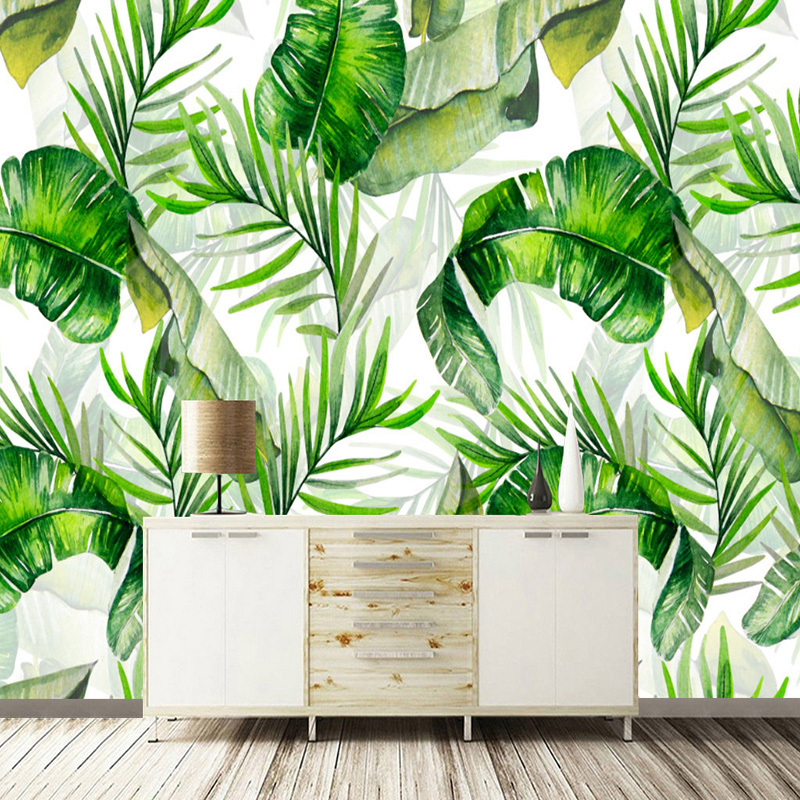 Custom Photo Wallpaper Hand Painted Banana Leaves Rain Forest Plants Green Leaf Decor Wall Painting Wallpapers For Living Room