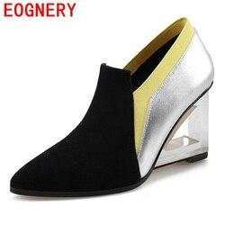 Egonery genuine leather pumps hollow plexiglass heel woman pointed toe party pumps high heels ladies wedges.jpg 250x250