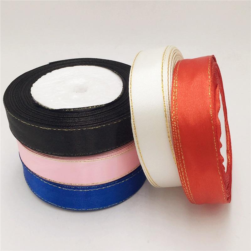 (25 ярдов/рулон) 3/4 »(20 мм) золотой край ленты атласные ленты высокого качества подарочная упаковка ленты
