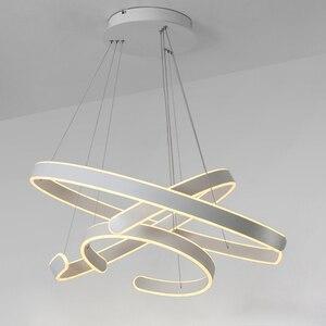 Image 4 - AC90 264VModern pendant lights for living room dining room Geometry Circle Rings acrylic aluminum body LED Lighting ceiling Lamp