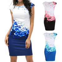 China Vintage Elegant Sleeveless Floral Vestidos Womens Formal Party Evening Pencil Mini Dress