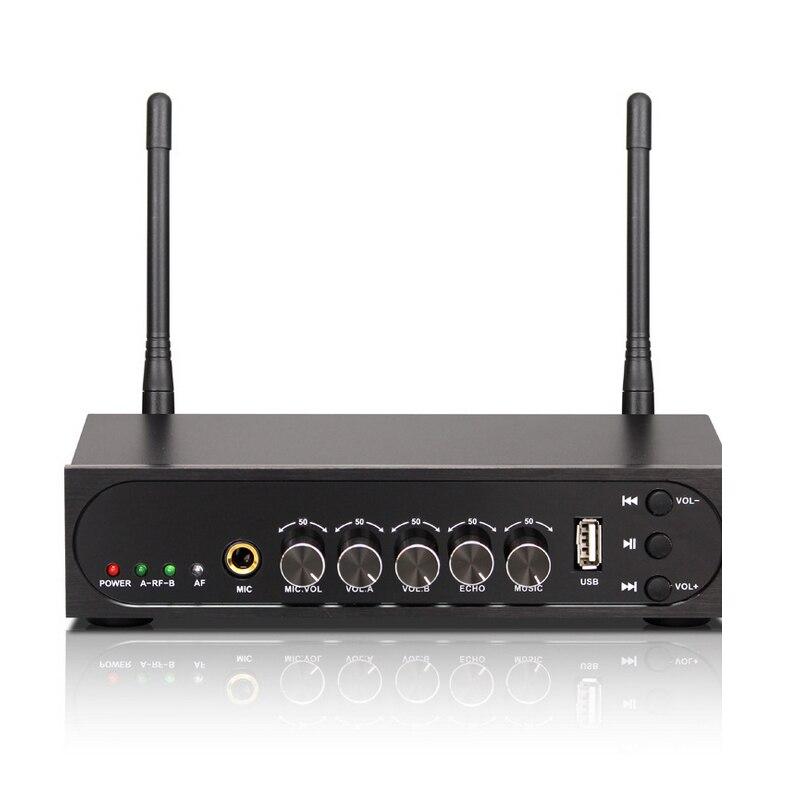 Microphone à main sans fil double canal KEXU UHF avec Port USB système de Microphone sans fil karaoké facile à utiliser - 5
