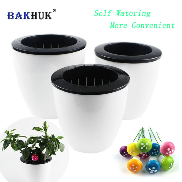 BAKHUK 3pcs Plastic Self Watering Pot Planter Flower Pot& 10pcs Decorative Mushroom as Gift, 3 Different Sizes White Flower Pots
