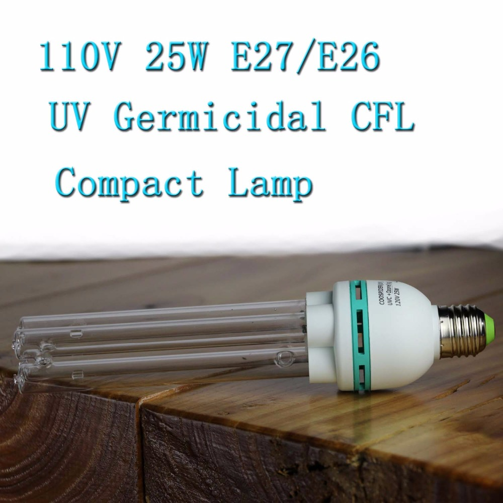 Household UVC Germicidal CFL Lamp Bulb E27 E26 Screw Socket With Ballast Use With Upto 40 Sq. M. (450 Sq. Ft.) 120Volt 25Watt