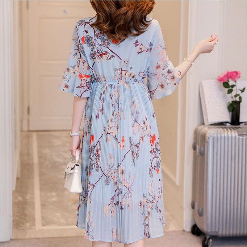 88c7b9d17f37 Aliexpress.com : Buy New Maternity Horn Sleeve Dress Pregnancy Clothing V  neck Chiffon Print Flowers Pleated Dresses For Pregnant Women 2018 Summer  from ...
