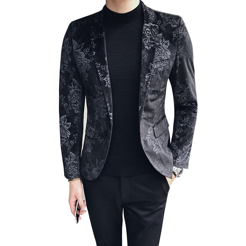 Floral Stylish Blazers For Men Slim Fit Mens Blazer Pattern Printed Blaser Homens Mens Blazer Personality Jacket Black Blue 3xl