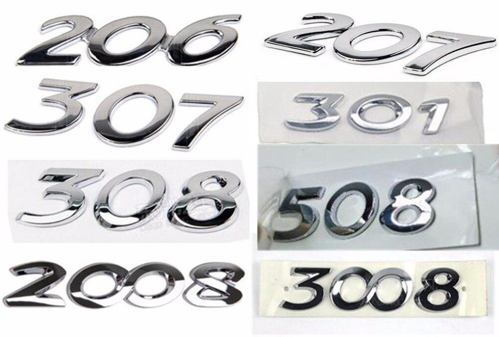 עבור פיג 'ו 206/301/307/308/508/2008/3008 דיגיטלי סמל כסוף לקשט רכב זנב ספרות משלוח חינם