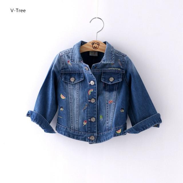 Calças de Brim meninas Outwear Casacos de Bebê Crianças Roupas Para A Primavera Outono Crianças Casacos de Moda Cowboy Denim Jaquetas Com Íris