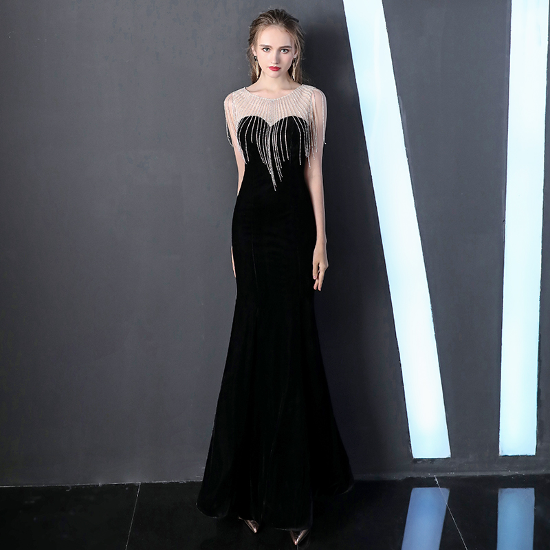 Black Velour Sheer Neck Beading Robe De Soiree Sheer Neck Crystal Mermaid Formal Long   Evening     Dresses   2019 Prom Party Gowns