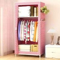 Dormitory Single Wardrobe Non Woven Steel Frame Reinforcement Standing Storage Organizer Detachable Clothing Closet Convenience