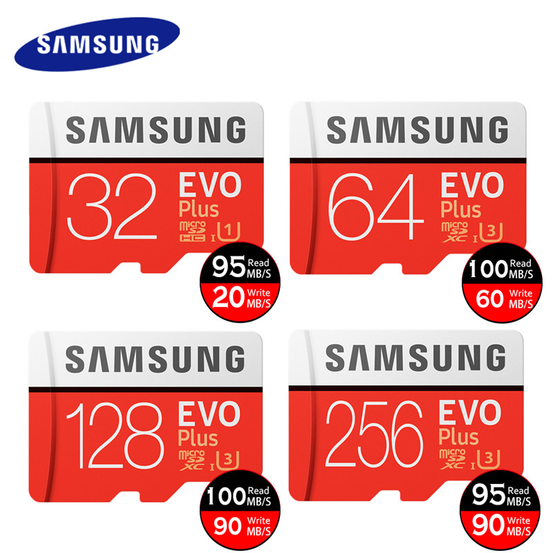 Carte mémoire SAMSUNG Micro SD 32GB 64GB 128GB 256GB U3 U1 4K SDHC SDXC Grade EVO + Class10 C10 UHS TF cartes Trans Flash microsd