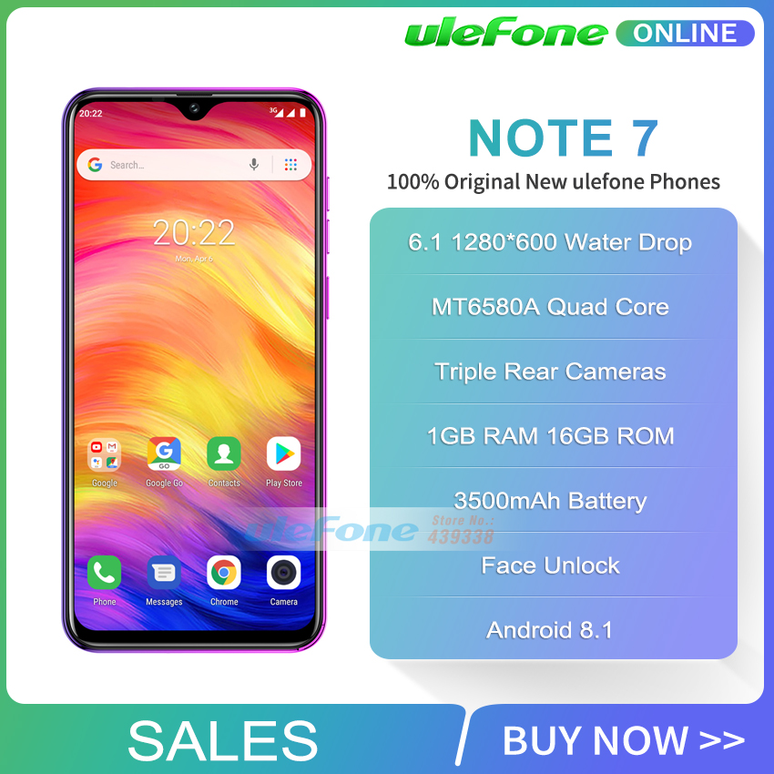 Image 2 - Ulefone Note 7 Smartphone 6.1 inch 1GB RAM 16GB ROM MT6580A Quad 