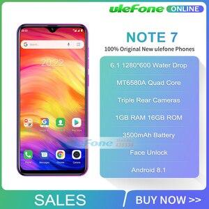 Image 2 - Ulefone not 7 Smartphone 6.1 inç 1GB RAM 16GB ROM MT6580A dört çekirdekli 3500mAh yüz kimlik üç arka kameralar Android 9 cep telefonu