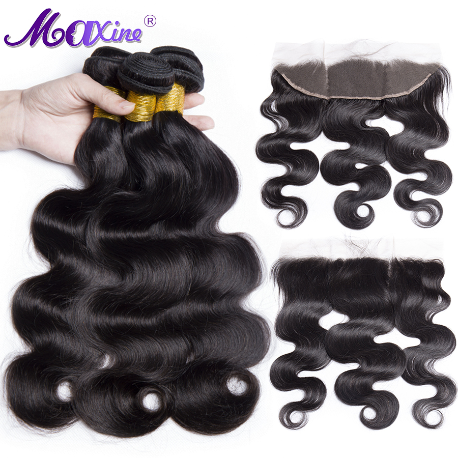 Maxine Hair Body Wave 3 Bundles With Frontal Brazilian Human Hair Weave Bundles Lace Frontal Closure