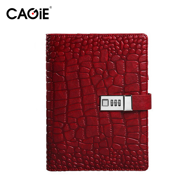 ФОТО Cagie Creative Diary With Lock Vintage Composition Book Alligator Pattern Office Planner Organizer Agenda Travel Journal