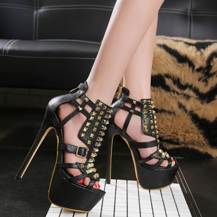 2018 spring new women 16cm super high heels waterproof table rivets sandals female zipper close buckle decoration sandals shoes
