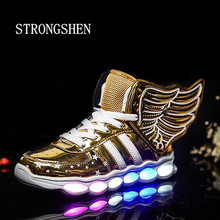 STRONGSHE Children Shoes With Light Boys&Girls Casual LED Shoes For Kids USB Charging LED Light Up 3 Colors Wing Kids Shoes