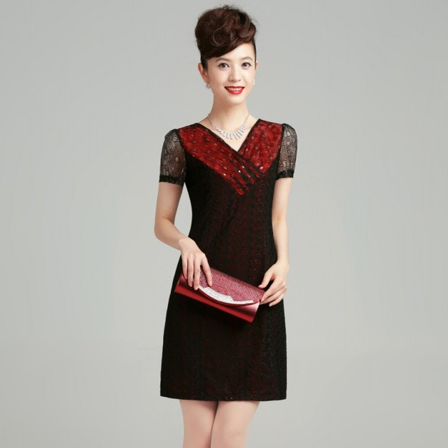 new fashion 2013 summer V-neck computer short-sleeve embroidery women's casual dress plus size  01258001317