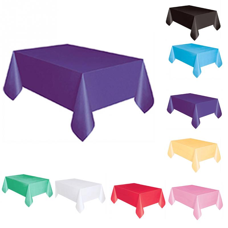137x183cm Solid Color Disposable Tablecloth Kids Happy Birthday Wedding Party Tablecover Supplies White Black red yellow-in Disposable Party Tableware from Home & Garden