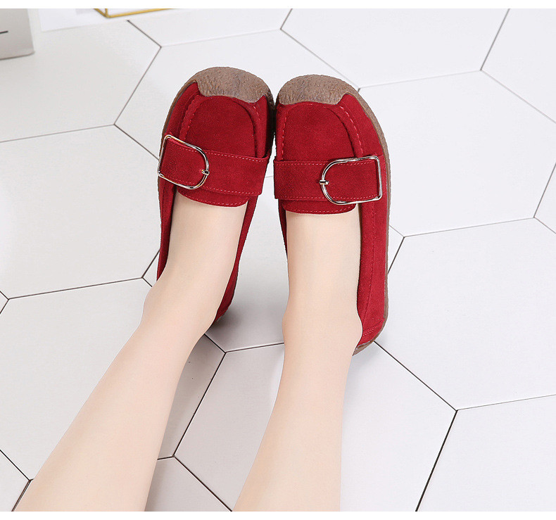 HX 7038-Spring Autumn Cow Suede Leather Women Flats-12