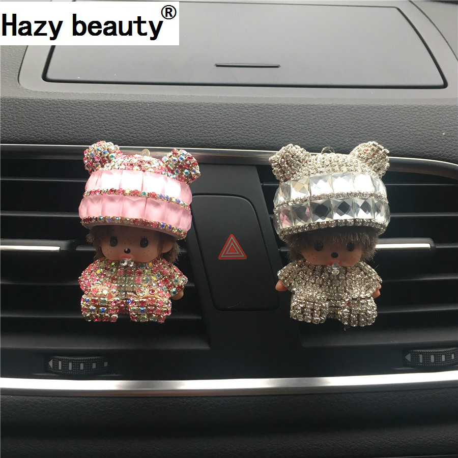 Hazy beauty Diamond Car outlet perfume Car decoration Air conditioning perfume Pendant Ointment Car Styling 100 Original car outlet perfume air freshener with thermometer lime