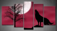 5 Pics Framed Wall Art Pictures Wolf Cloudy Night Moon Canvas Print Artwork Animal Posters With Wooden Frames For Decor