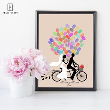 Bride And Groom Taking Bike Canvas Paintings Free Custom Name And Date Fingerprint Signature Guestbook For Wedding Party Decor wedding balloon canvas print diy fingerprint signature guestbook for wedding bride groom custom name date party decor