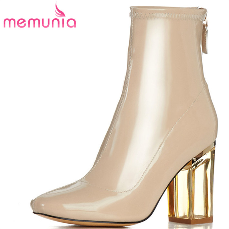 MEMUNIA 2018 new ankle boots Transparent high heel spring autumn boots patent leather Fashion personality big size boots 33-43 7pcs set self centering hinge cabinet door hardware wood drill bit set 5 64 7 64 9 64 11 64 13 64 1 4 5mm guide pilot hole drill