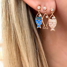 3 Pcs/set Boho Hollow Colourful Sea Fish Crystal Conch Cute Earrings For Women Fashion Animal Stud Female Jewelry
