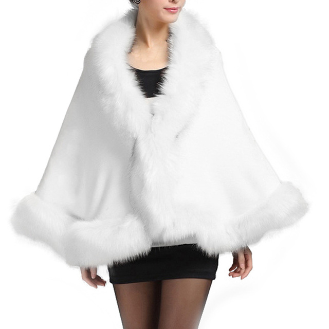 e596701abdbf Winter Faux Fur Coat Women Ponchos And Capes Black White Red Fur Top  Wedding Dress Shawl