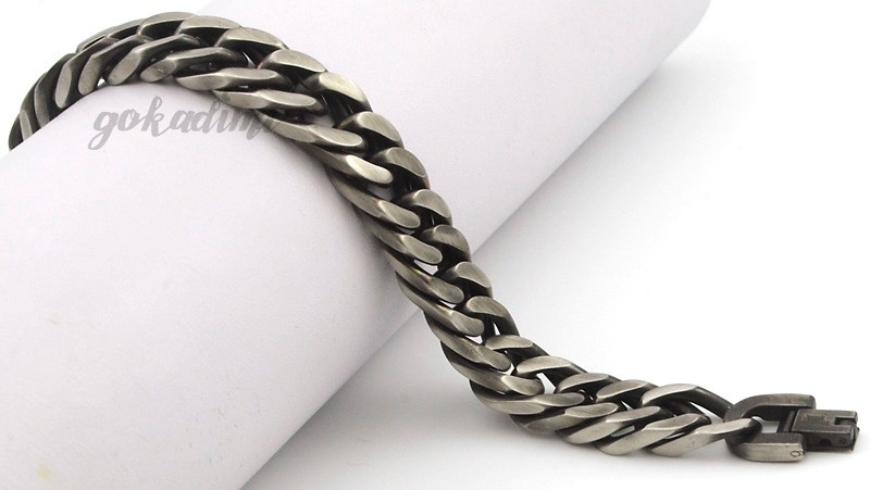 GOKADIMA 18 New Style Antique Finished Stainless Steel Chain Bracelet Men Jewelry Party Christmas Gift 6