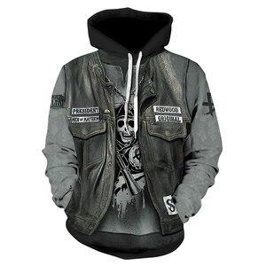 Image 5 - 2018 New Gothic Skull Hoodie Mens Hip Hop Hoodie Men / Womens Thin 3D Sweatshirt Print Fake Denim Jacket Skull Hoodie Pullover