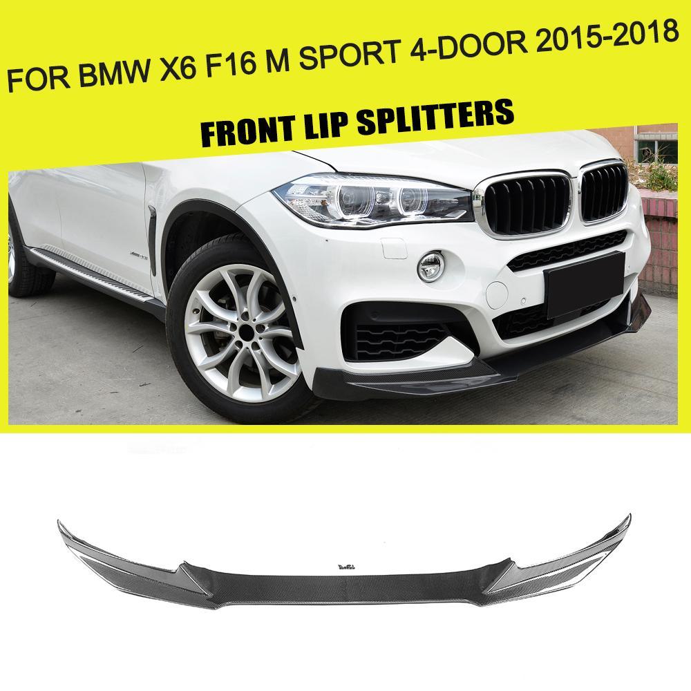 Carbon Fiber Front Bumper Lip Spoiler Chin Protector for BMW X6 F16 M Sport M Tech Bumper 4-Door 2015 2016 2017 2018 Year
