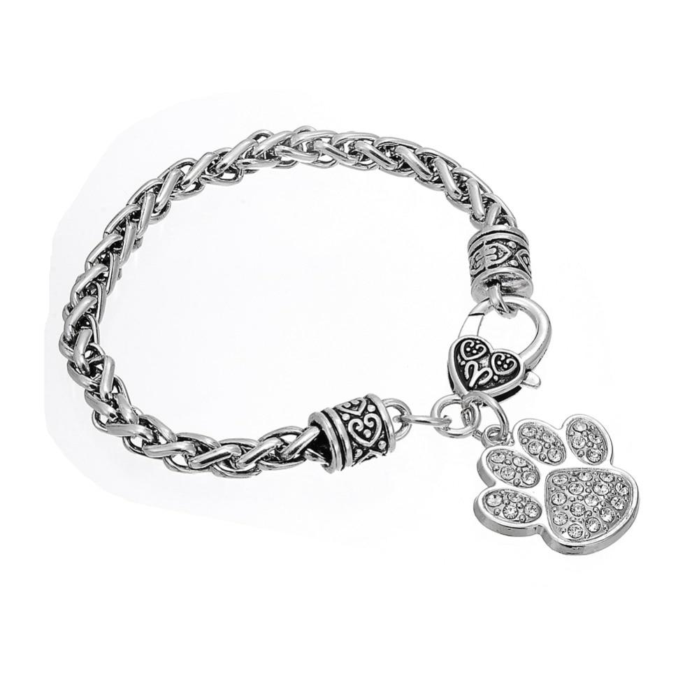 1e7eaf9d6c0b1 US $3.78 5% OFF|Teamer Brand Pretty Paw Print Classic Silver Color Clear  Crystal Charm Bracelet Woman/Man Wrist Amulet Talisman Jewelry-in Charm ...
