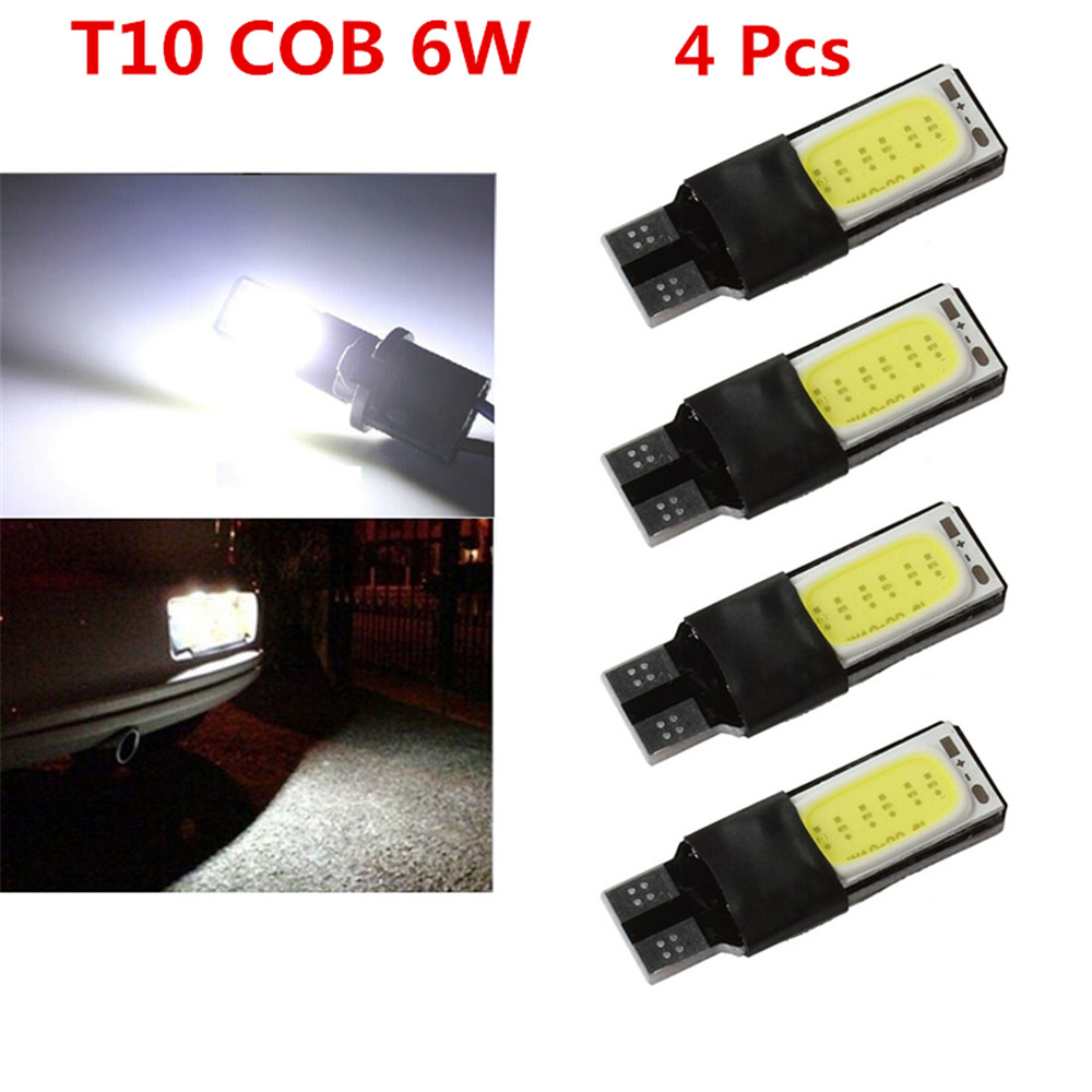 Long lasting 4pcs T10 W5W 194 168 2825 12961 White LED 6W No Error COB Canbus Side Lamp Wedge Light Bulb 4x canbus error free t10 194 168 w5w 5050 led 6 smd white side wedge light bulb