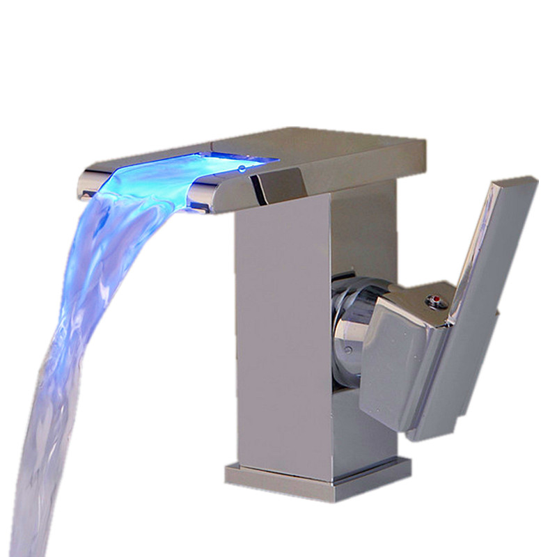 LED Color Changing Bathroom Waterfall Faucet Single Handle Centerset Mixer Tap Chrome Polished
