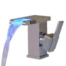 LED Цвет Изменение Ванная Комната Водопад Кран Одной Ручкой Centerset Смесителем Хром Полированный