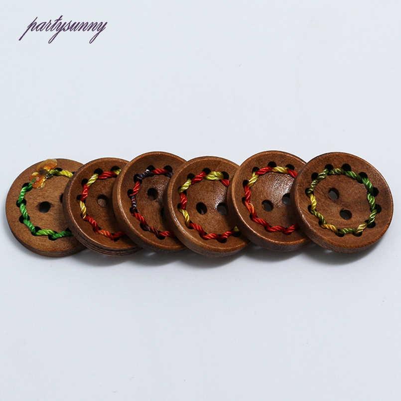 PF 2 otwory 100 sztuk 15 20mm drewniane guziki ręcznie nici przyciski kolorowa linia akcesoria do szycia dla dzieci torba na ubrania NK028