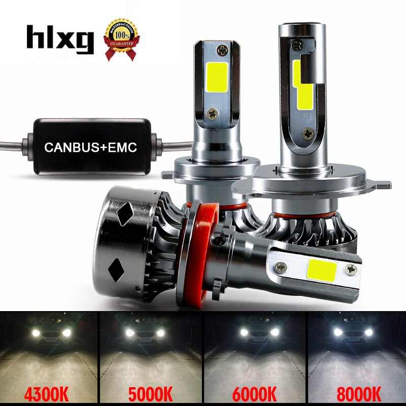 hlxg Mini H7 Led Canbus 8000K led h4 H11 H8 fog lights 9006 hb4 led  h1 9005 HB3 Car Headlight 12V 72W 10000LM 6000K 5000K 4300K