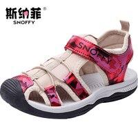 Snoffy Boys Sandals 2017 Summer Children Girls Shoes Close Toe Big Kids Sandal Non slip Leather Baby Beach Shoes TX159