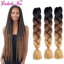 24 дюйма крупные косички волосы для вязания крючком омбре синтетические
