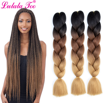 24inch Jumbo Braids Crochet Hair Ombre Synthetic Braiding Braids100g/Pc Pink Blue Grey Extensions African
