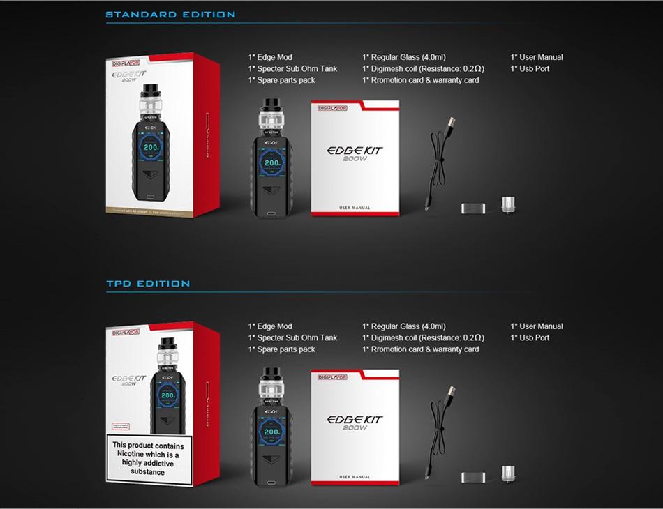 , Original Digiflavor Edge Kit with 5.5ml/4ml Spectre Sub Ohm Tank No 18650 Battery Box Mod Fast Wireless Charge Vape Kit Vs Aegis