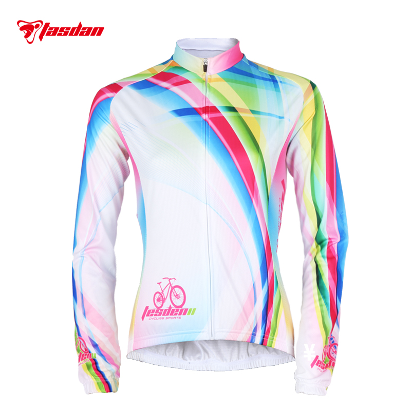 Tasdan 2016 Cycling Jerseys Women Long Sleeve Autumn Spring MTB Road Bike Bicycle Jersey Shirt Clothing 2016 new men s cycling jerseys top sleeve blue and white waves bicycle shirt white bike top breathable cycling top ilpaladin