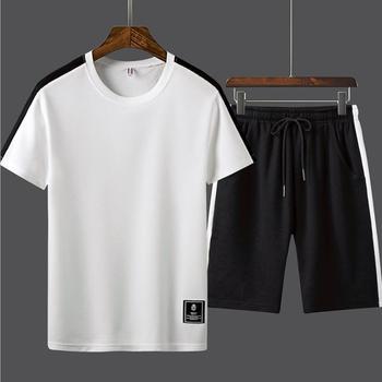 Mens Sporting Suit Men 2019 Summer Thin Set Men Tracksuit Striped T Shirts + Shorts Sets Male Sweat Suit 2 Pieces T-shirt Shorts