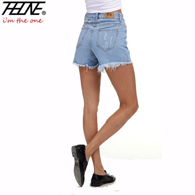 Thhone verano ripped denim shorts mujeres de cintura alta de la borla del agujero flaco Sexy Casual Moda Mujer Vaqueros Cortos Femeninos Más El Tamaño 5XL