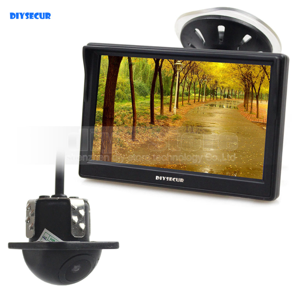DIYSECUR Wired 5 Inch HD LCD Display Rear View Monitor Car Monitor Mini Car Cam Rear View Car Camera Reversing System